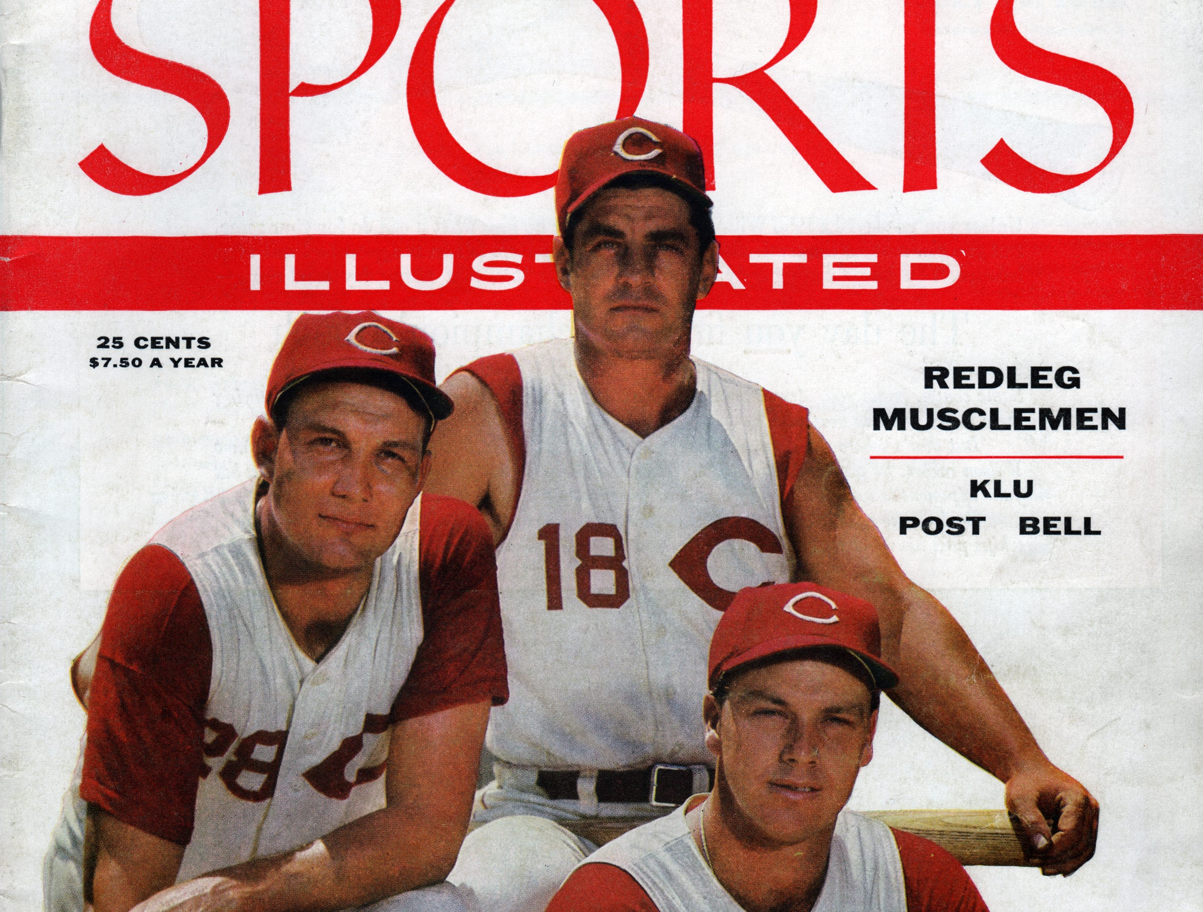 Sports Illustrated cover from July 16, 1956 featuring Reds players Ted Kluszewski, Wally Post and Gus Bell.