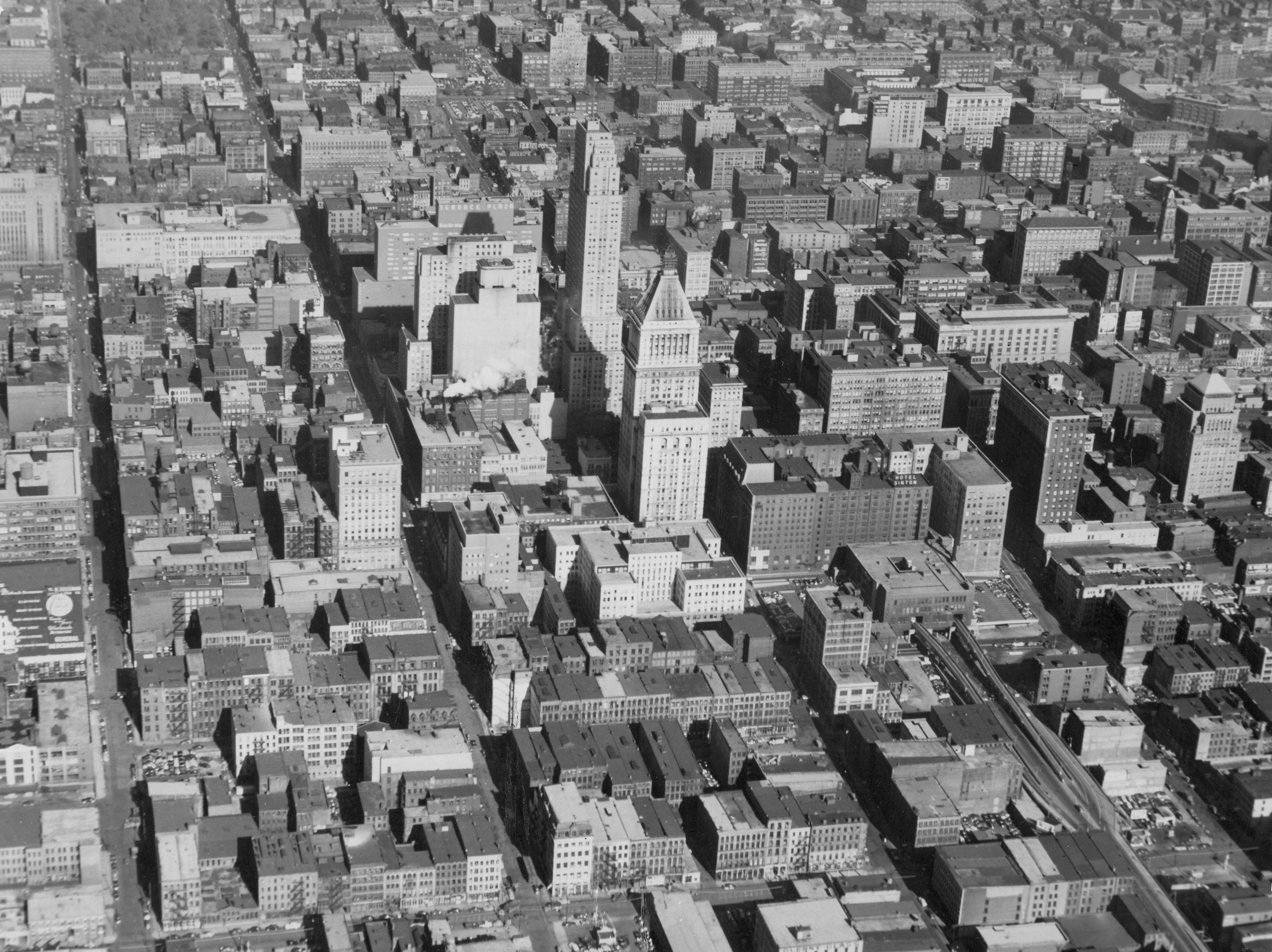 Cincinnati air view of Central Trust Tower, Carew Tower, Terrace Plaza Hotel, Hotel Sinton, Dixie Terminal in April 1956
