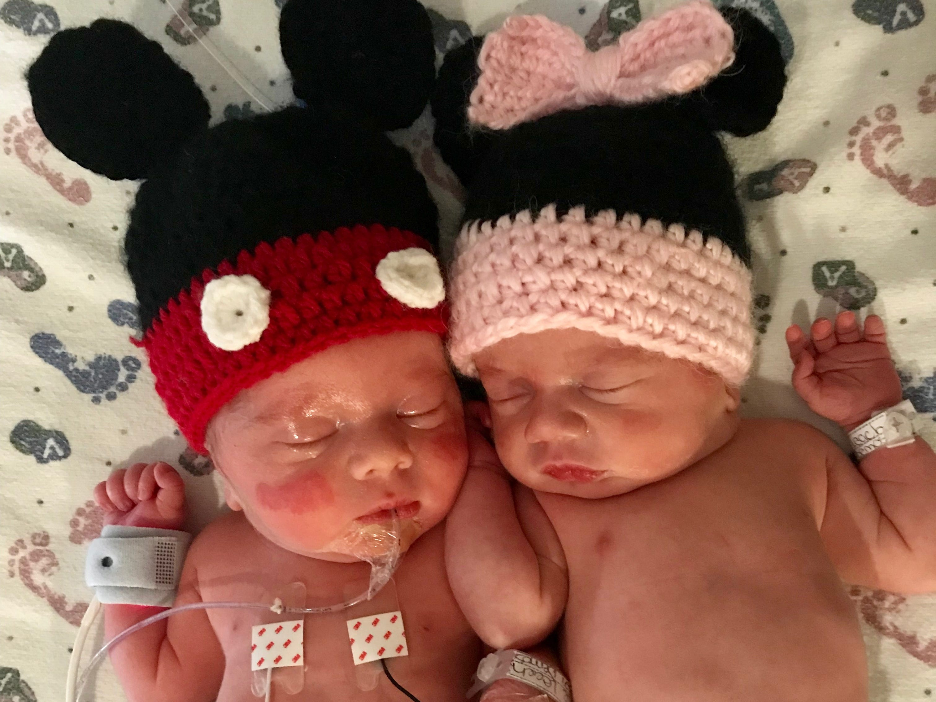 The Leach twins celebrated their birth and New Year's Day clad in their Mickey and Minnie hats. Jan. 1, 2019