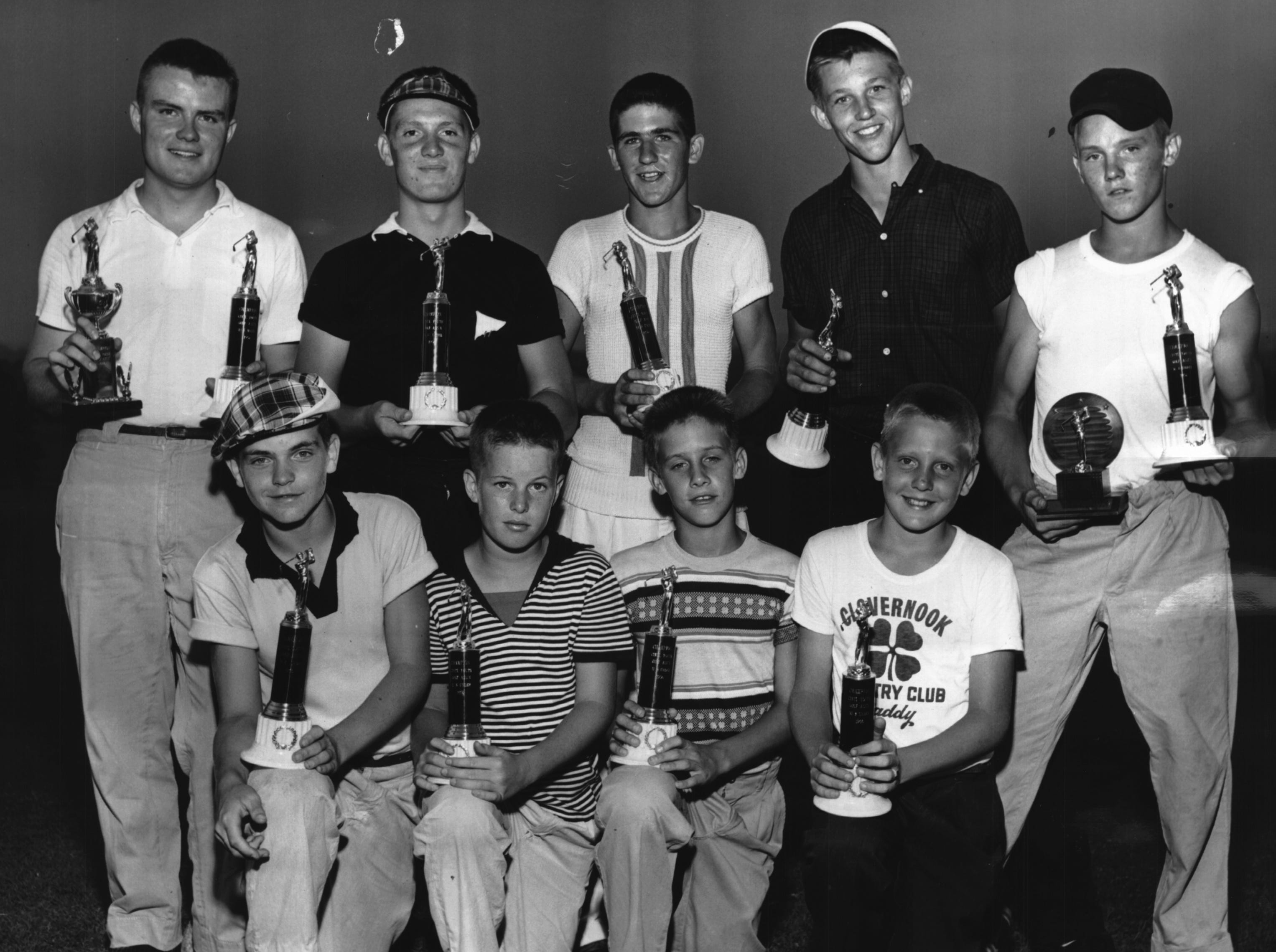 Here's the array of future golf greats who won division  championships in the Youth Golf Association Tournament at Avon Fields. Front row, left to right, Earl Northcutt (13), Greg Wehrman (12), TomKathman (11), Tom Meslow (10-and-under). Back row, left to right, Ed Heimann (18), Don Stringfield (15), Tom Dreyer (14), Roland Wierwille (17) and Tom Metz (16). Heimann was medalist with a two-under-par 66, Metz was runner-up with an even par 68.