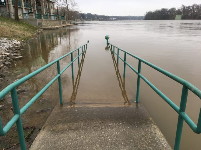 Cumberland River flooding left several parts of the McGregor Park Riverwalk under water Wednesday morning, Jan. 2, 2019.