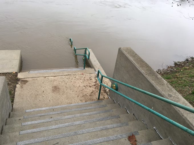 Cumberland River flooding left several parts of the McGregor Park Riverwalk under water Wednesday morning, Jan. 2, 2019.