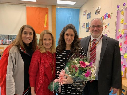 Left to right: Dr. Lisa M. Antunes, Assistant Superintendent, Dr. Mary Ann Mullady, Amsterdam Elementary School Principal, Lisa Caudill, and Dr. Jorden Schiff, Superintendent.