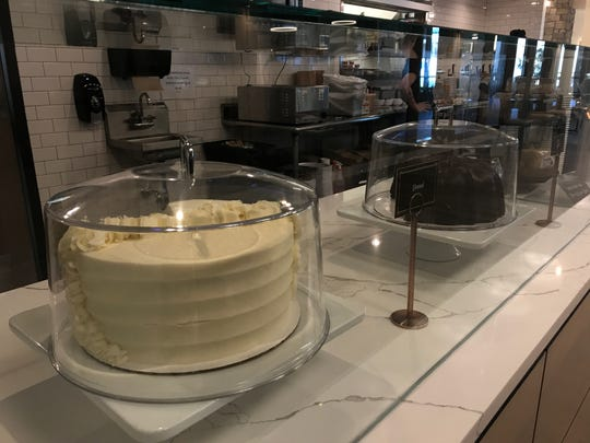 Cakes on display at the new location of Main Street Cafe & Bakery in the downtown Des Moines skywalk.