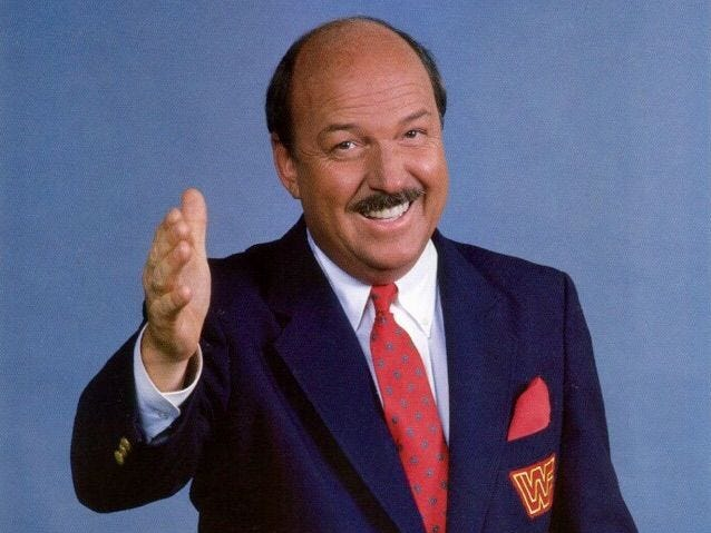 """Mean"" Gene Okerlund, legendary wrestling announcer for WWE and WCW. Jan. 2. He was 76."