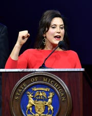 Gov. Gretchen Whitmer addresses the inauguration celebration in the Grand Riverview Ballroom at Cobo Center in Detroit on Jan. 1, 2019.