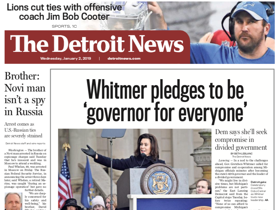 The front page of The Detroit News on Wednesday, January 2, 2019