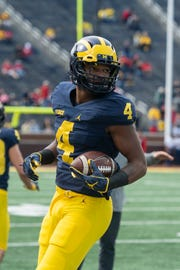 Nico Collins was Michigan's leading receiver in the Peach Bowl.