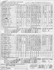 Box score from the Jan. 2, 1989, game between UW-Green Bay and Loyola Marymount.