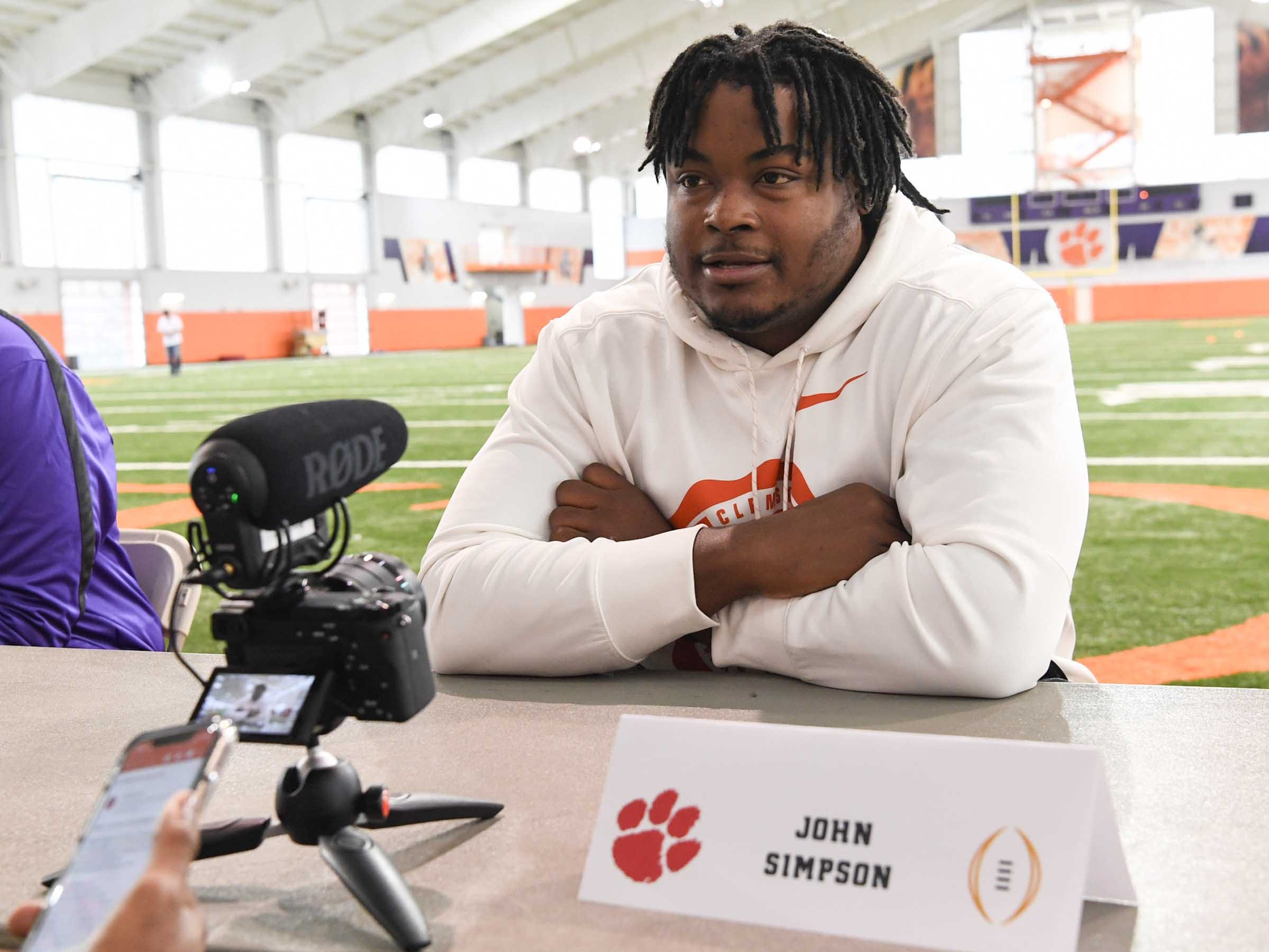 Clemson offensive guard John Simpson talks during media day in the Poe Indoor Facility in Clemson Wednesday, January 2, 2019.