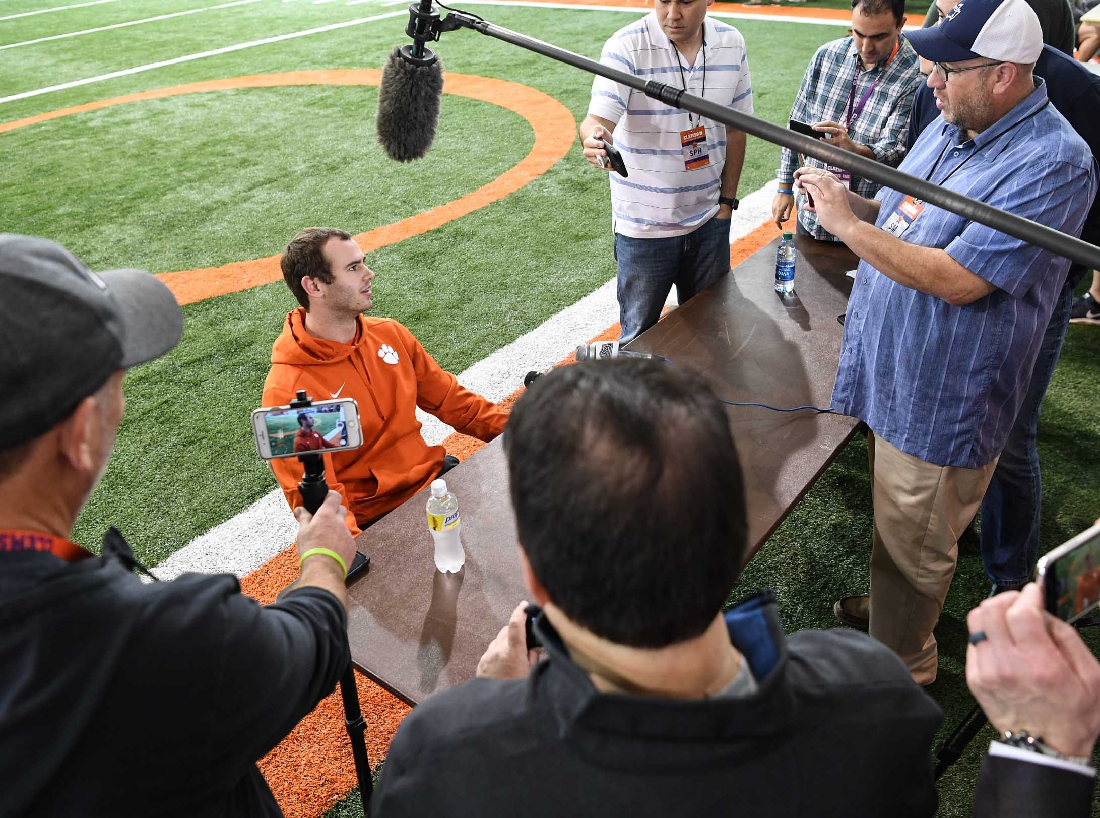 Clemson wide receiver Hunter Renfrow talks during media day in the Poe Indoor Facility in Clemson Wednesday, January 2, 2019.