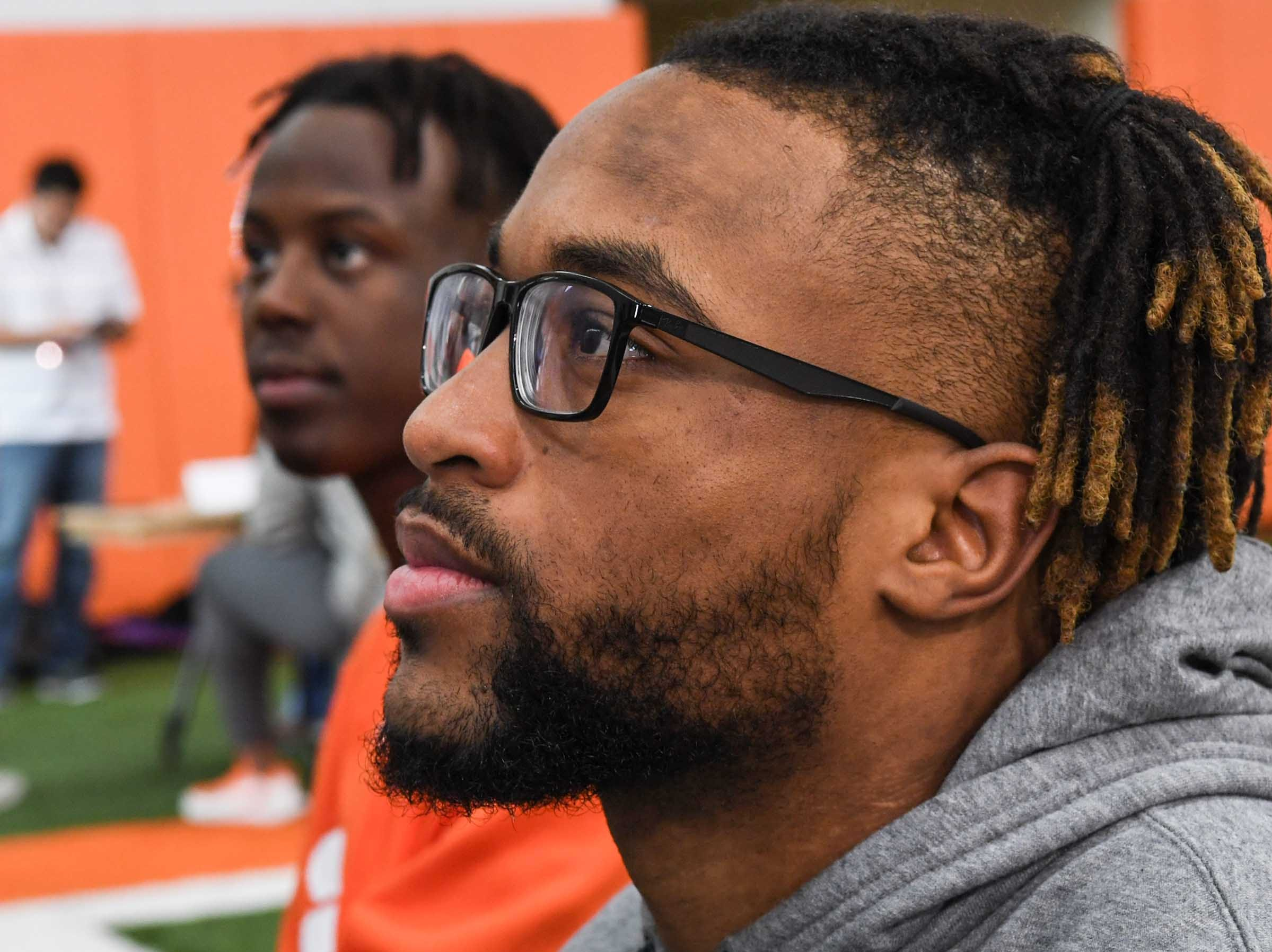 Clemson wide receiver Amari Rodgers talks during media day in the Poe Indoor Facility in Clemson Wednesday, January 2, 2019.