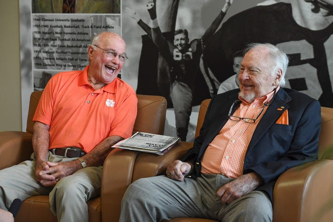 Former Clemson football players Fred Cone, left, and Phil Prince reminisce about their playing days during a visit to Clemson September 27, 2018. The pair were part of Clemson's undefeated 1948 team.