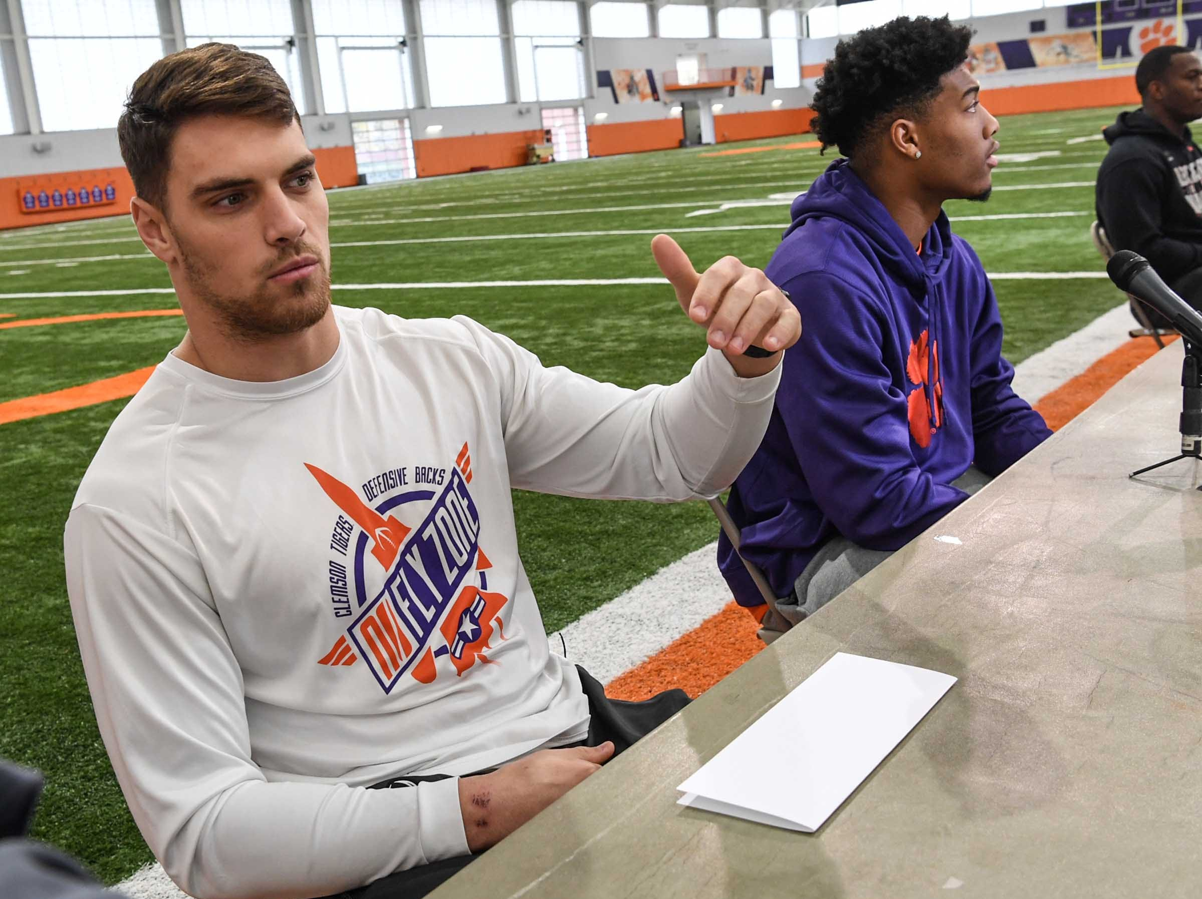 Clemson defensive back Tanner Muse talks during media day in the Poe Indoor Facility in Clemson Wednesday, January 2, 2019.