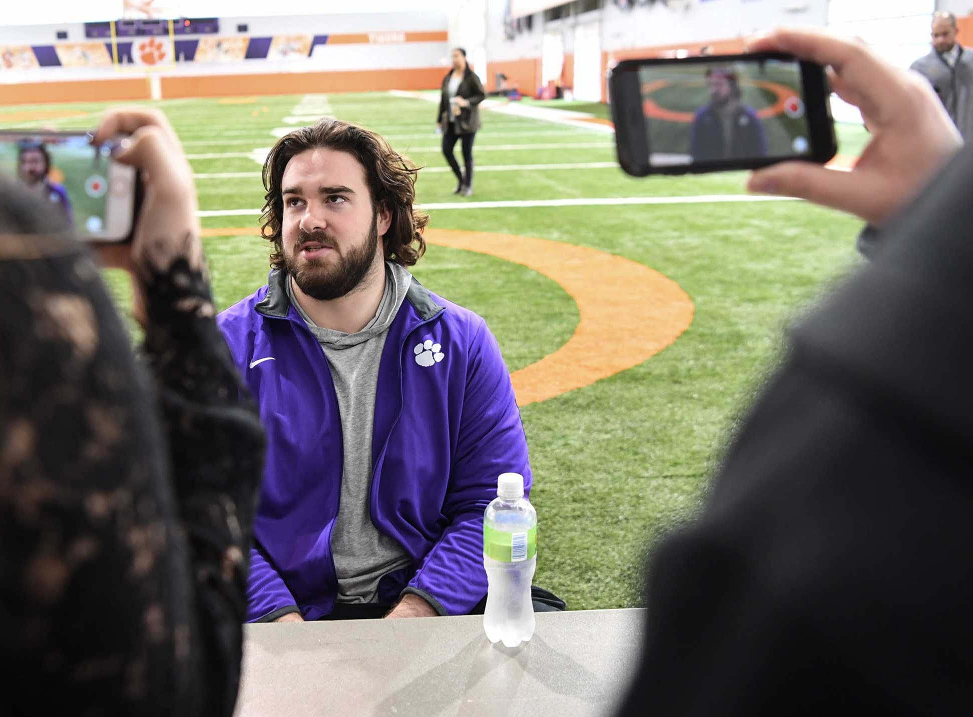 Clemson center Justin Falcinelli talks during media day in the Poe Indoor Facility in Clemson Wednesday, January 2, 2019.