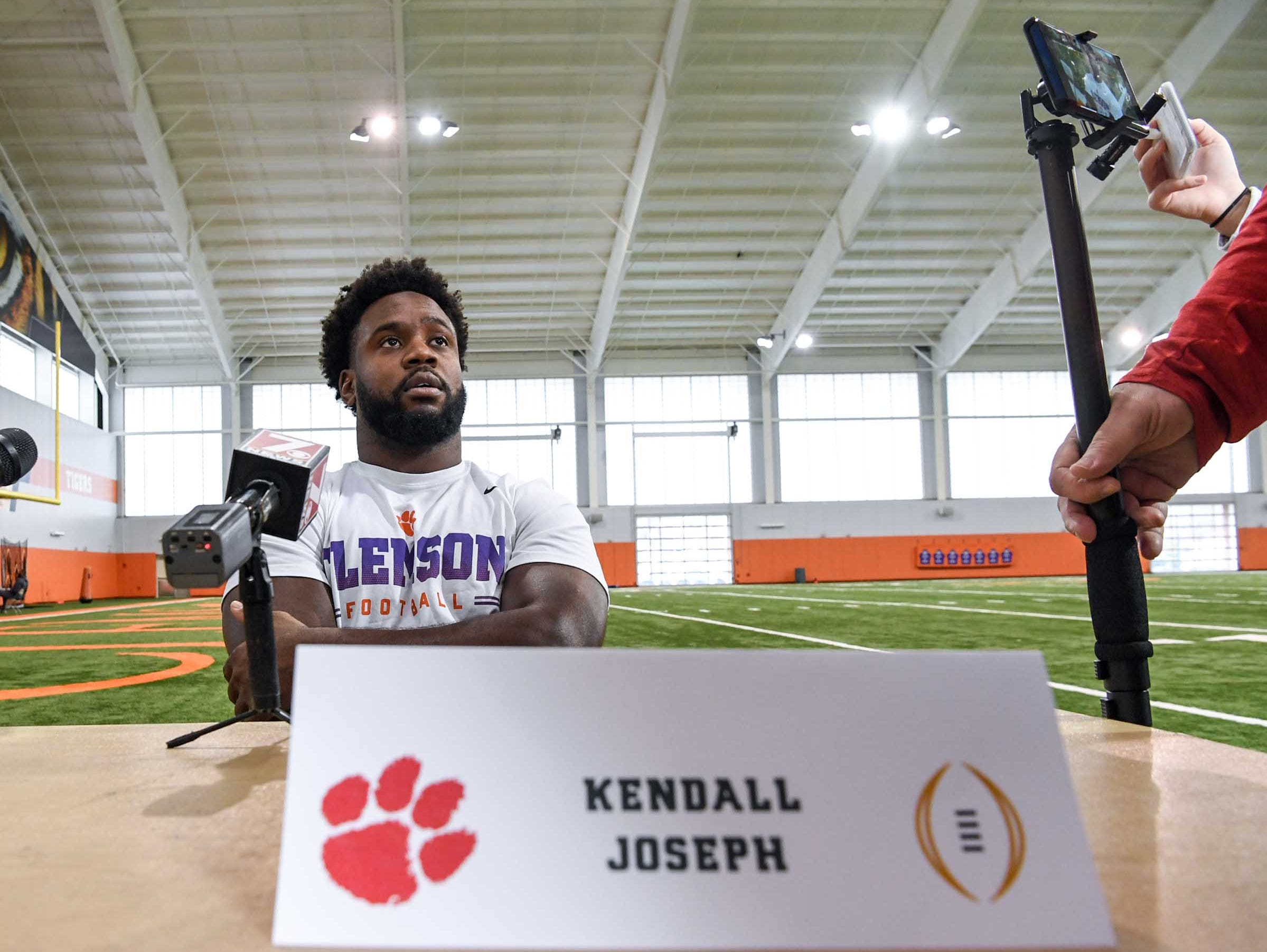 Clemson linebacker Kendall Joseph speaks during media day in the Poe Indoor Facility in Clemson Wednesday, January 2, 2019.