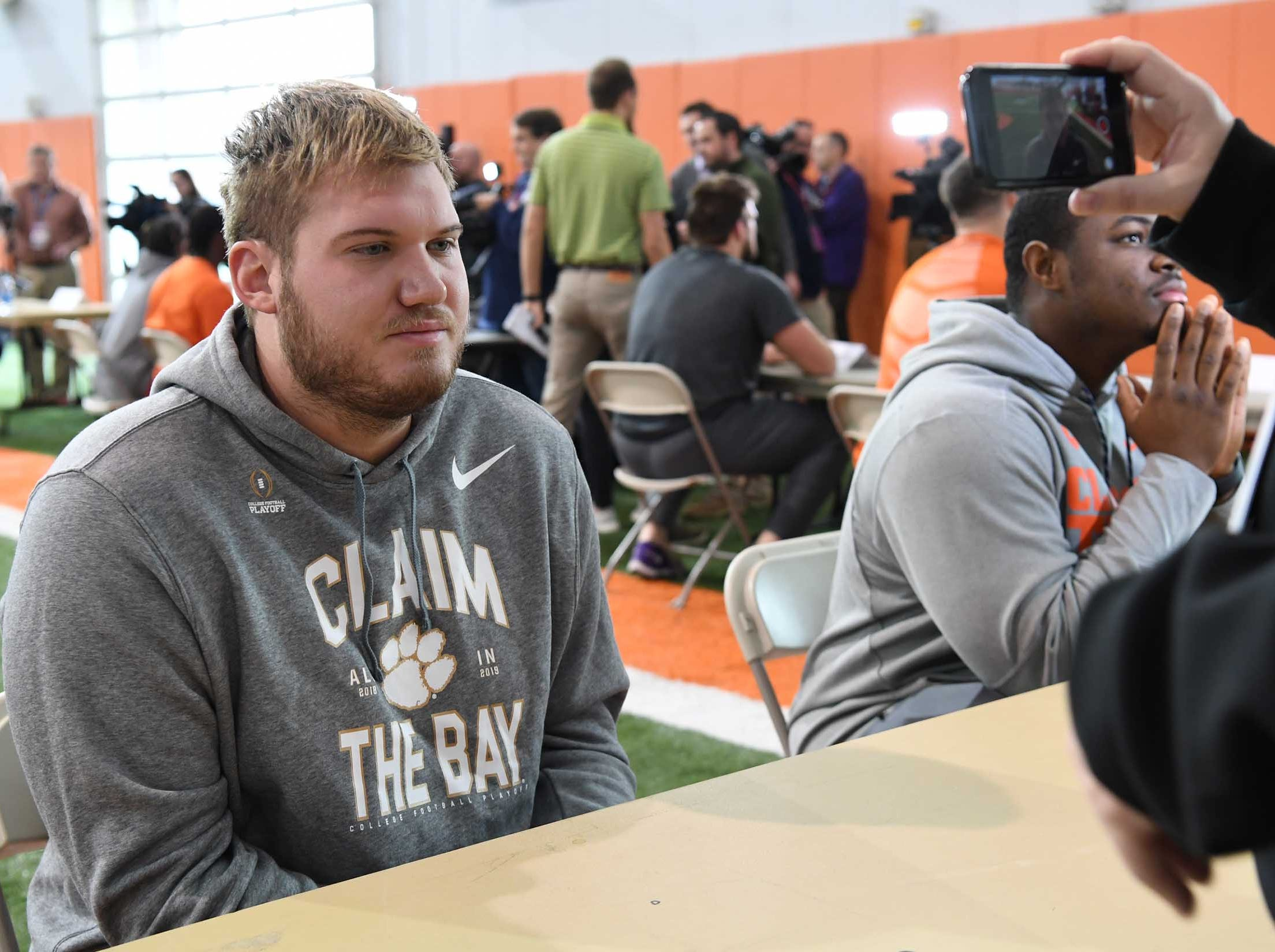 Clemson offensive lineman Mitch Hyatt talks during media day in the Poe Indoor Facility in Clemson Wednesday, January 2, 2019.