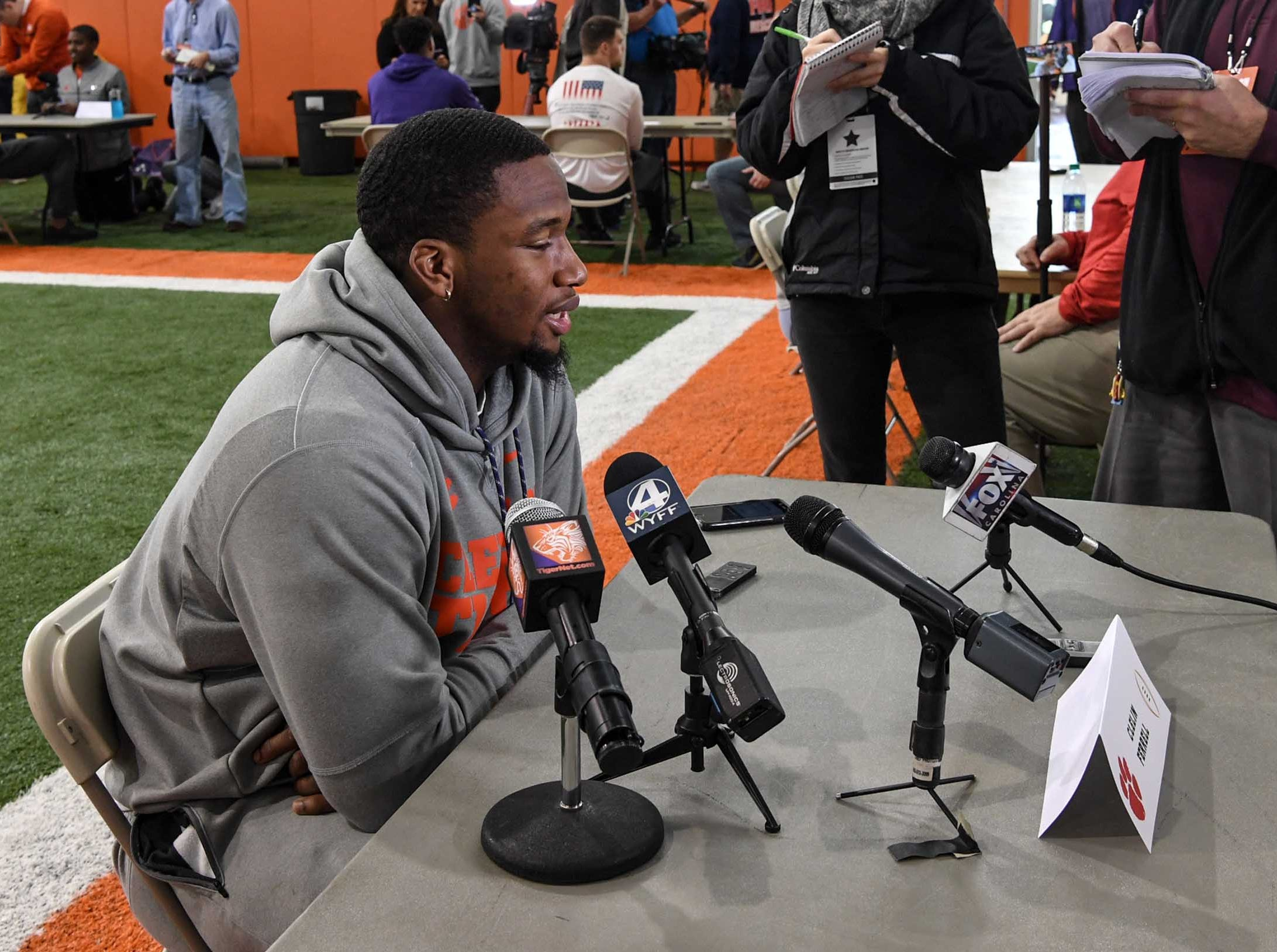 Clemson defensive lineman Clelin Ferrell talks during media day in the Poe Indoor Facility in Clemson Wednesday, January 2, 2019.