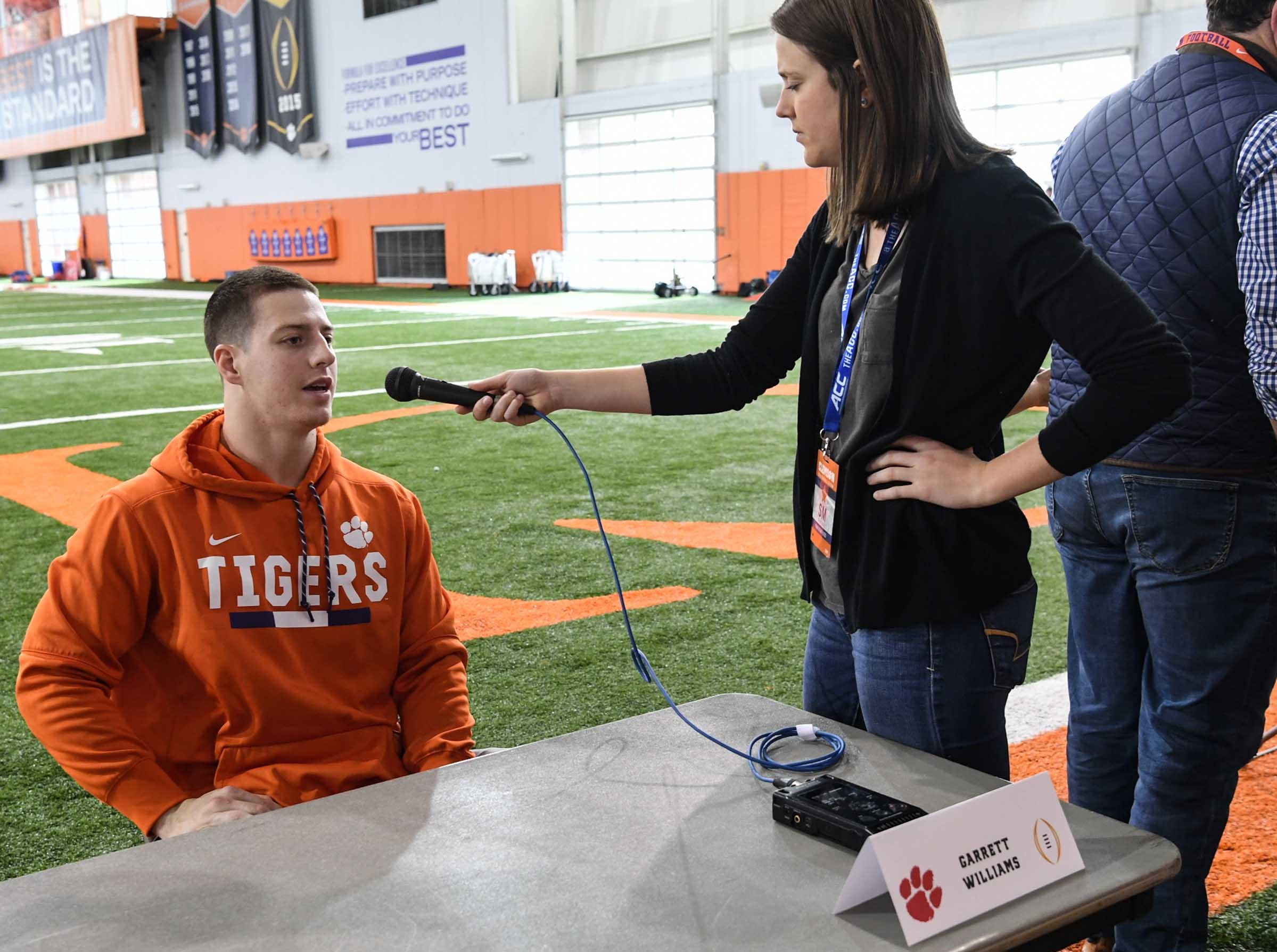 Clemson tight end Garrett Williams talks during media day in the Poe Indoor Facility in Clemson Wednesday, January 2, 2019.
