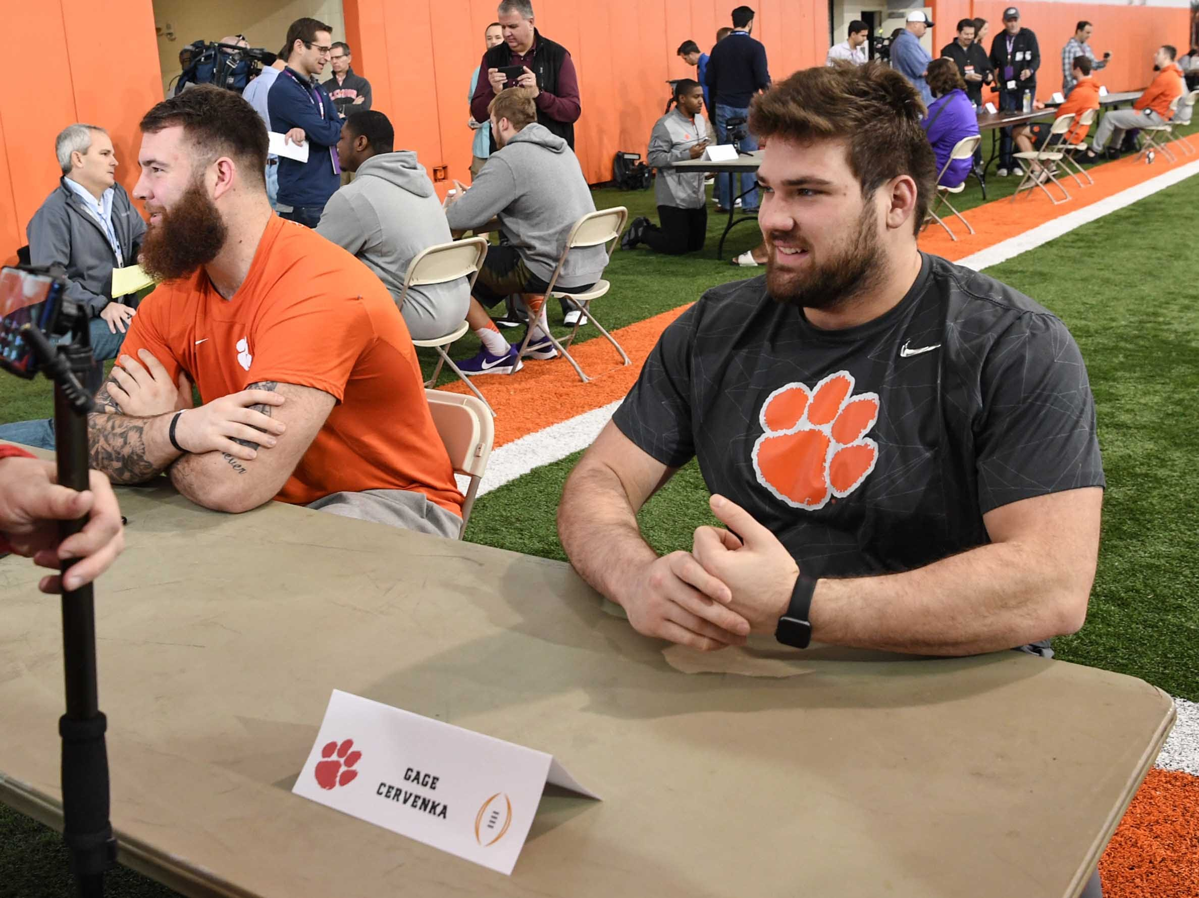 Clemson offensive lineman Gage Cervenka talks during media day in the Poe Indoor Facility in Clemson Wednesday, January 2, 2019.
