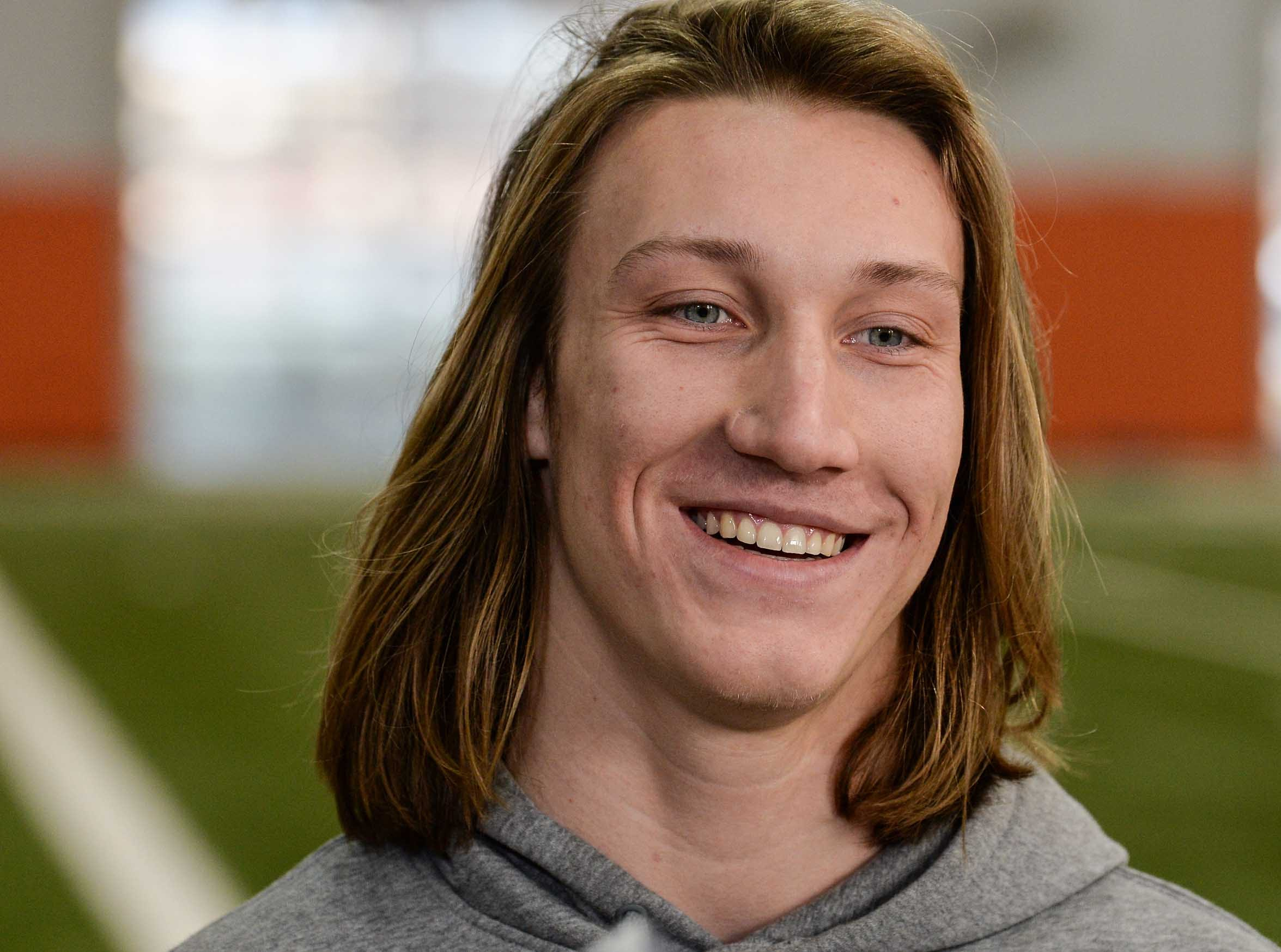 Clemson quarterback Trevor Lawrence talks during media day in the Poe Indoor Facility in Clemson Wednesday, January 2, 2019.