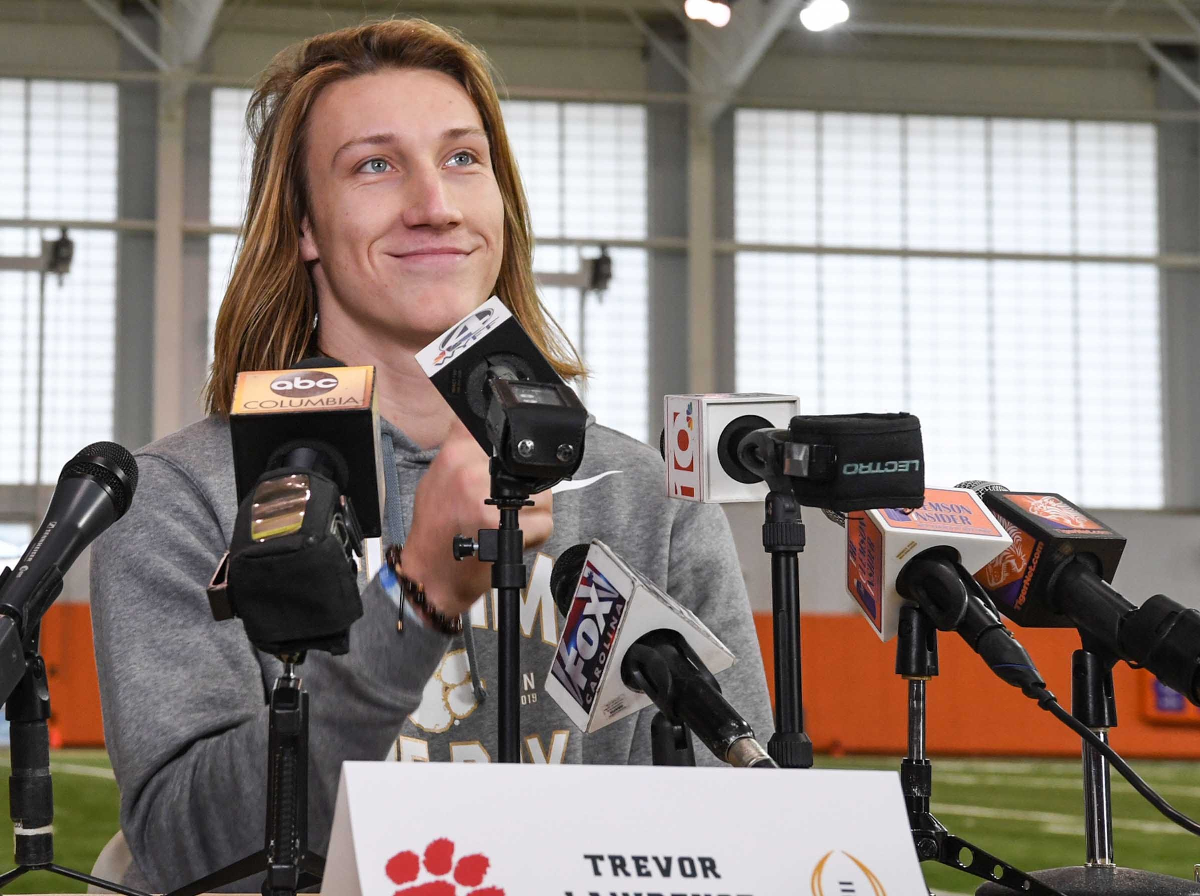 Clemson quarterback Trevor Lawrence listens to a question during media day in the Poe Indoor Facility in Clemson Wednesday, January 2, 2019.