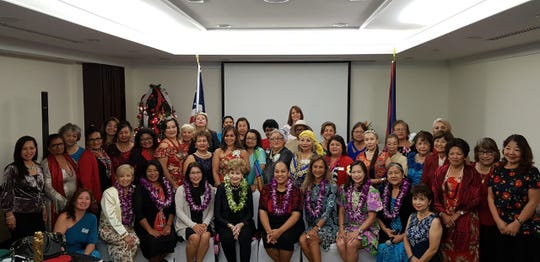 The Guam Council of Women's Clubs  installed their 2019-2020 executive board and giving the oath of  office was Congresswoman Madeleine Z. Bordallo. Executive board officers  seated from left: Annie Duenas (member-at-large), Ann  Marie Pellobello (secretary), Erlinda Alegre (vice president),  Congresswoman Bordallo, Jessica Castro (president), Geri Cordova  (treasurer), Judy Ho (member-at-large) and Dorothy Borlas (immediate  past president. Present presidents, past presidents and friends of the  GCWC umbrella clubs were present to help celebrate the Installation and  Christmas party at the Sheraton Laguna Resort on December 3, 2018.