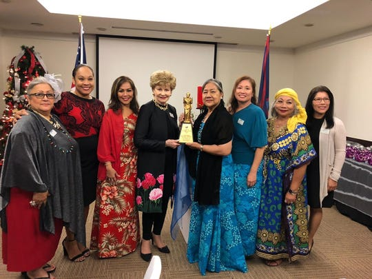 Congresswoman Madeleine Z. Bordallo was presented with the Senator Geronima T. Pecson trophy during the Federation of Asia-Pacific Women's Association (FAWA) Convention in Manila, Philippines on September 26-30, 2018. GCWC President, Dorothy Borlas (FAWA Guam head delegate) brought back the trophy for presentation.    Presenting the trophy are Mary Ann Cabrera (secretary), Jessica Castro (vice president), Caroline Sablan (immediate past president), Congresswoman Bordallo, Dorothy Borlas, Kristal Koga (FAWA executive board advisor), Lou Sablan (member-at-large) and Erlinda Alegre (treasurer).