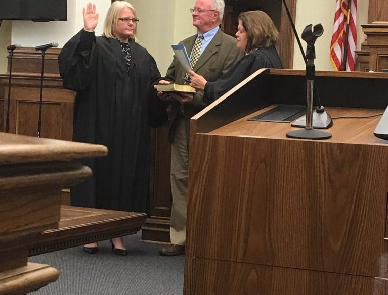 Chancellor Rhea Sheldon takes the oath of office administered by Supreme Court Justice Dawn Beam on Friday, Dec. 28, 2018, at Forrest County Courthouse.