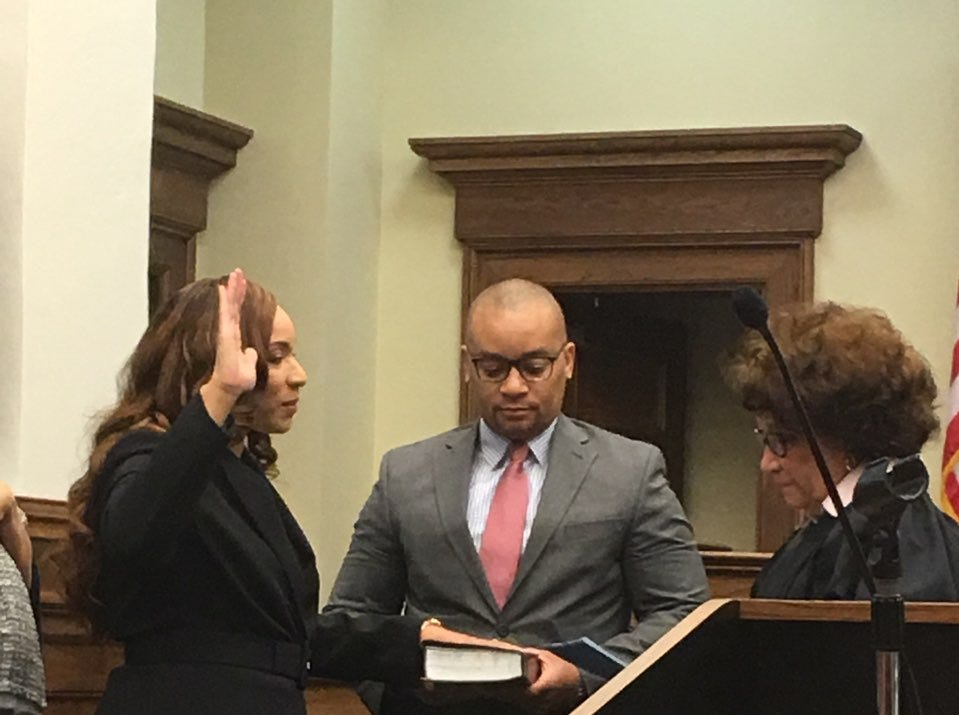 Carol Jones Russell is sworn in Friday, Dec. 28, 2018, as Forrest County and Youth Court judge by 10th District Chancery Judge Deborah Gambrell, her aunt.