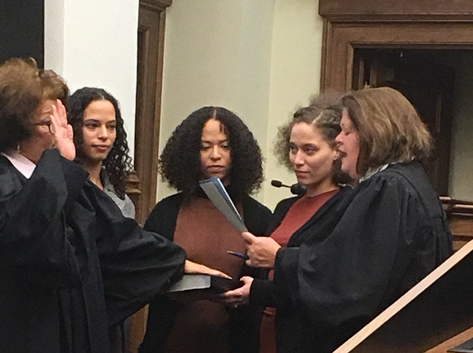 Chancellor Deborah Gambrell, surrounded by her daughters, takes the oath of office administered by Supreme Court Justice Dawn Beam on Friday, Dec. 28, 2018, at Forrest County Courthouse.