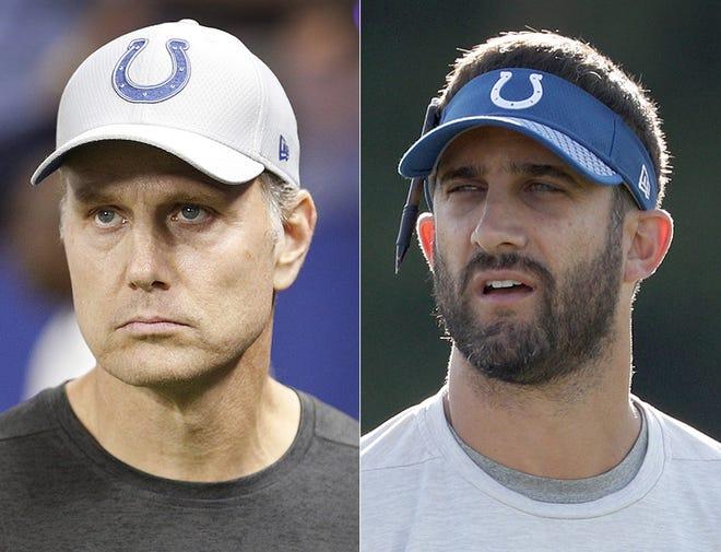 Indianapolis Colts defensive coordinator Matt Eberflus (left) and offensive coordinator Nick Sirianni