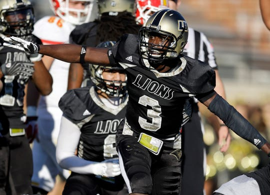 In 2013, Pierre Desir was a cornerback for Lindenwood, celebrating after he forced a fumble against Pittsburg State in St. Charles, Mo.