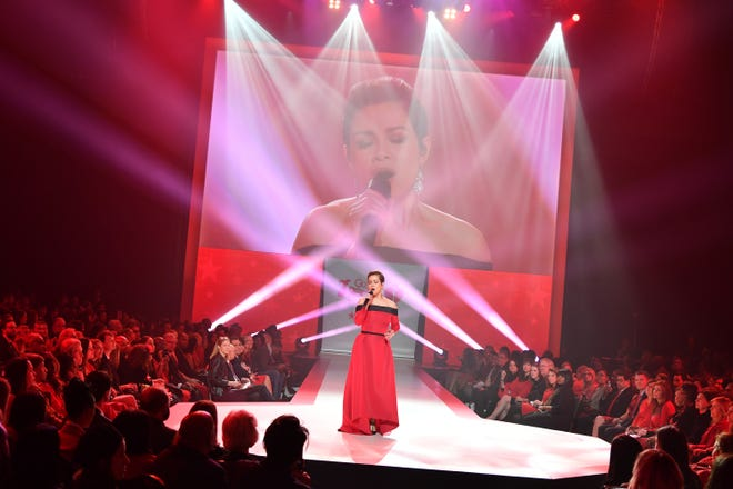 Recording artist Lea Salonga on stage at the American Heart Association's Go Red For Women Red Dress Collection 2018 in New York City. Salonga will sing in Indianapolis this year.