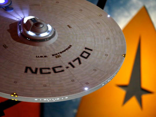 """This model of the USS Enterprise (NCC-1701) was part of the """"Star Trek: Exploring New Worlds"""" exhibit at the Museum of Pop Culture in Seattle from 2016 to 2018. The exhibit opens Feb. 2 at the Children's Museum of Indianapolis."""