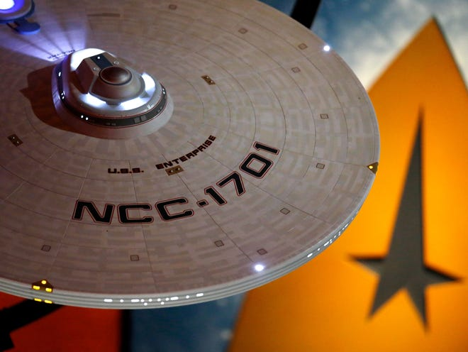 "This model of the USS Enterprise (NCC-1701) was part of the ""Star Trek: Exploring New Worlds"" exhibit at the Museum of Pop Culture in Seattle from 2016 to 2018. The exhibit opens Feb. 2 at the Children's Museum of Indianapolis."