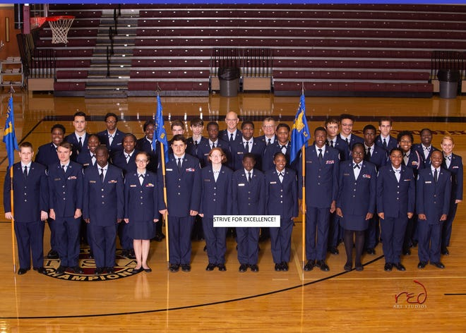 Air Force JROTC student cadets lead the program and set their unit goals at Liberty Tech in Jackson.