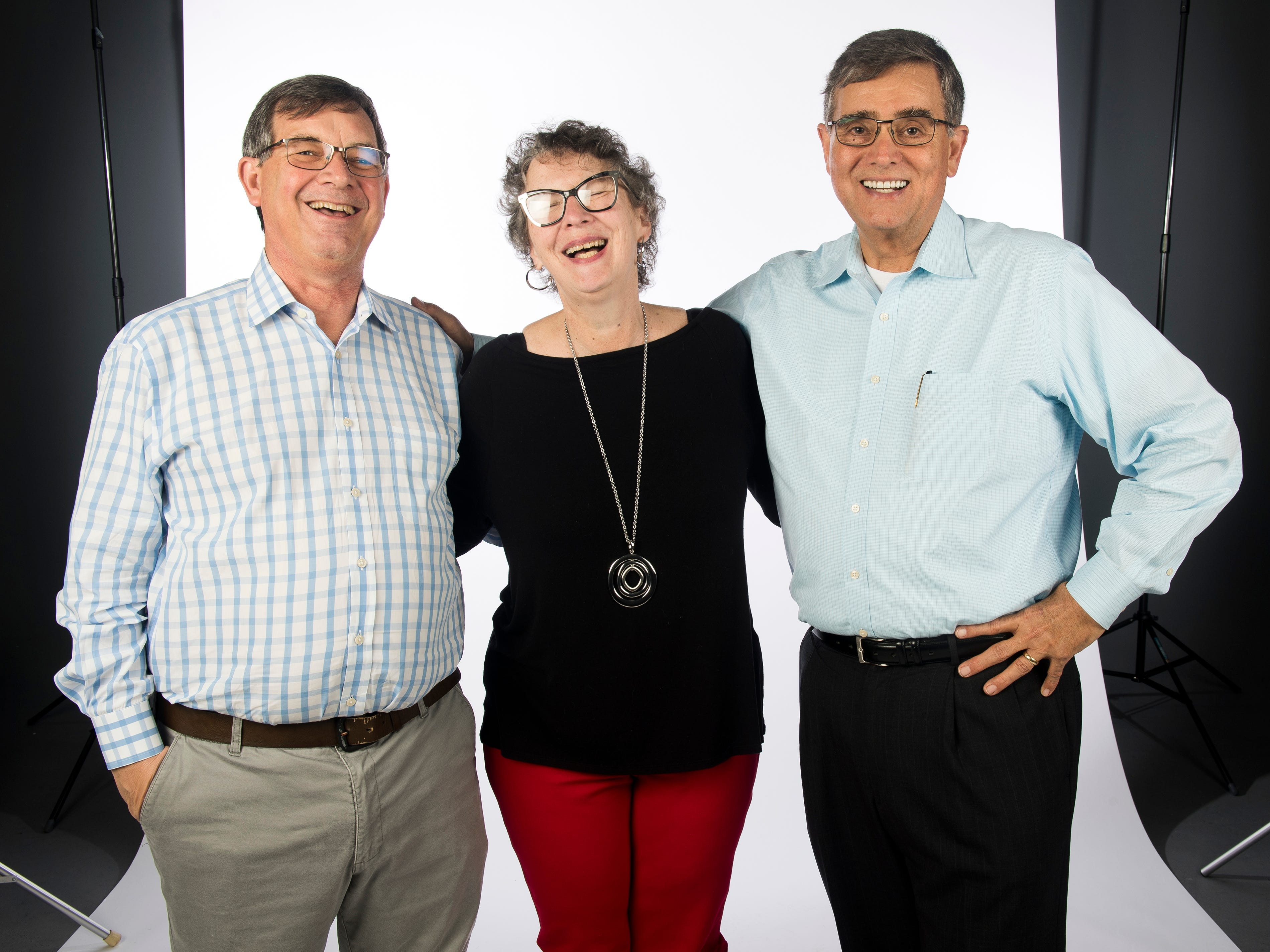 From left, Jack Lail, Mary Constantine and Michael Patrick in the News Sentinel studio on Wednesday, January 2, 2019. The News Sentinel celebrated the retirements of Mary Constantine, Jack Lail and Michael Patrick.