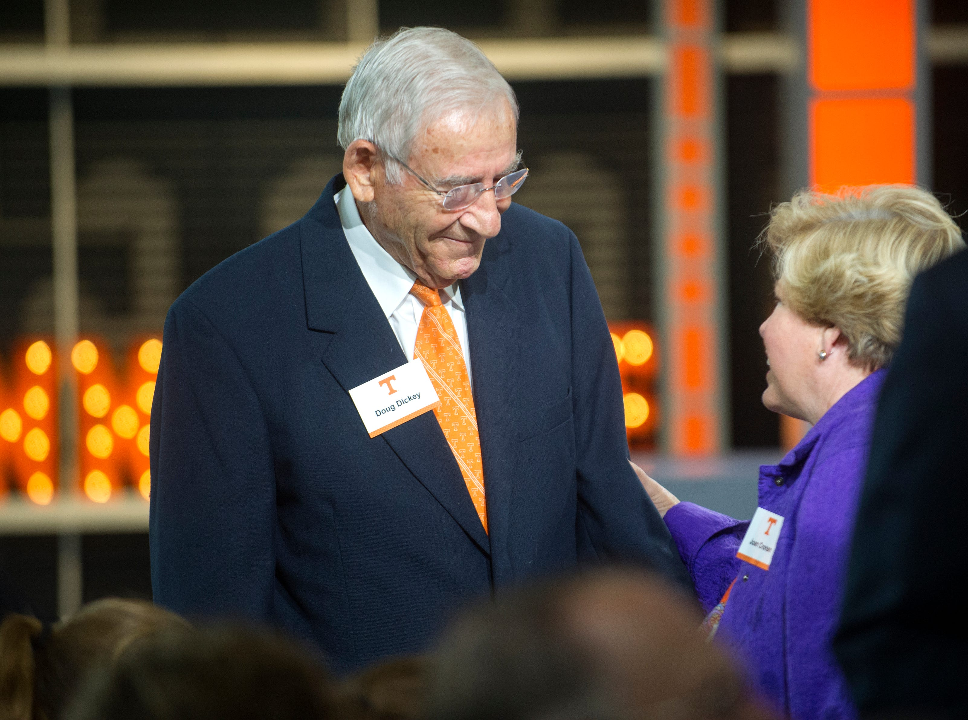 Former athletic director and football coach Dough Dickey greet Joan Cronan during the dedication of the Doug Dickey Hall of Fame Plaza and the Doug Dickey Hall of Champions at the Neyland-Thompson Center in Knoxville Friday, Oct. 2, 2015.