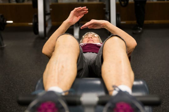 Carolyn Nichols of Loudon works out at an Anytime Fitness location in Loudon Wednesday, Jan. 2, 2019. Anytime Fitness is expanding in Tennessee.