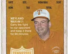 A 2010 football ticket for the Tennessee vs. Kentucky game. The tickets feature former UT football coaches; the Kentucky ticket shows Doug Dickey.
