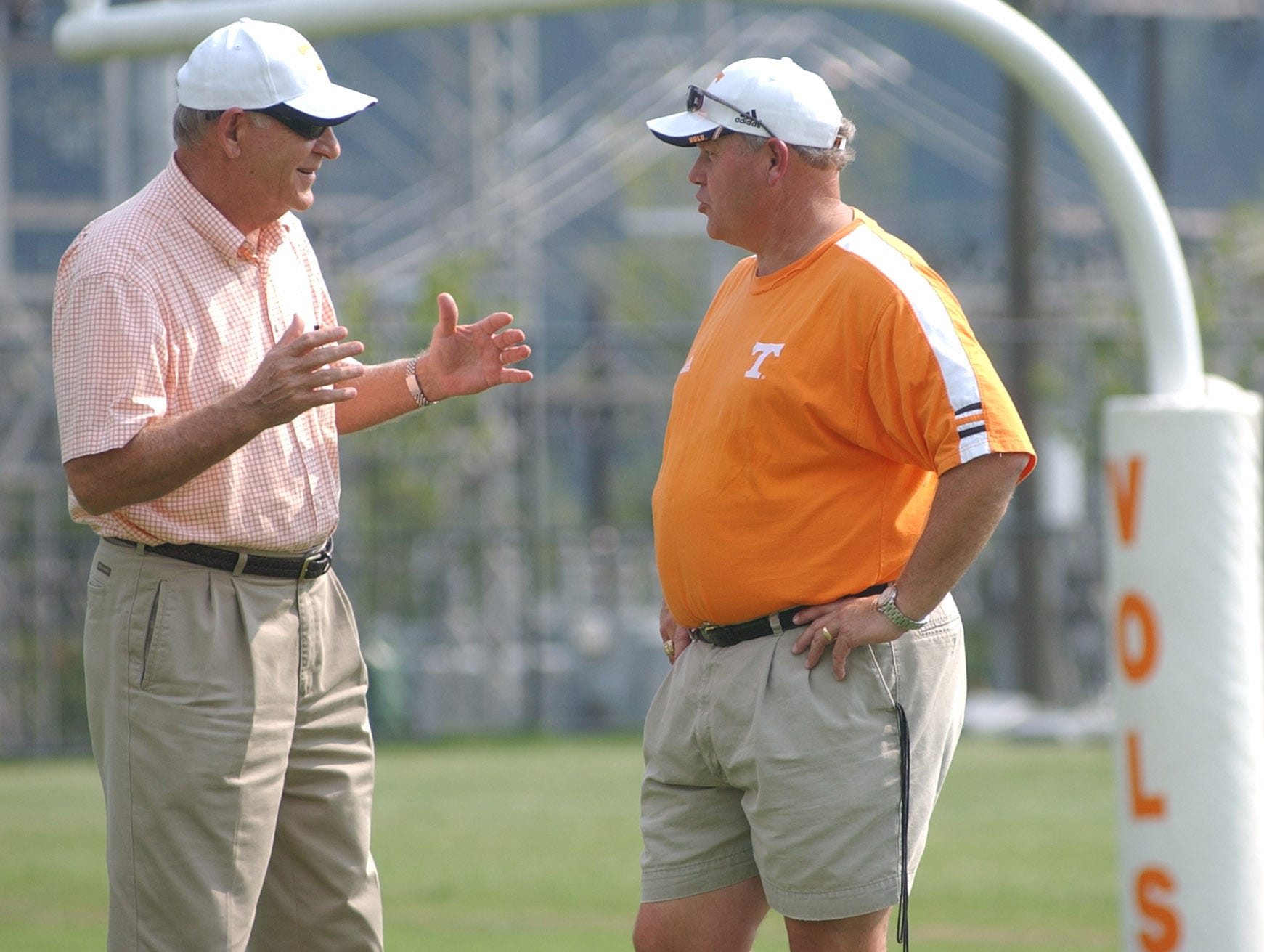 University of Tennessee Athletic Director Doug Dickey talks with head footballl coach Phillip Fulmer at football practice on Wednesday.
