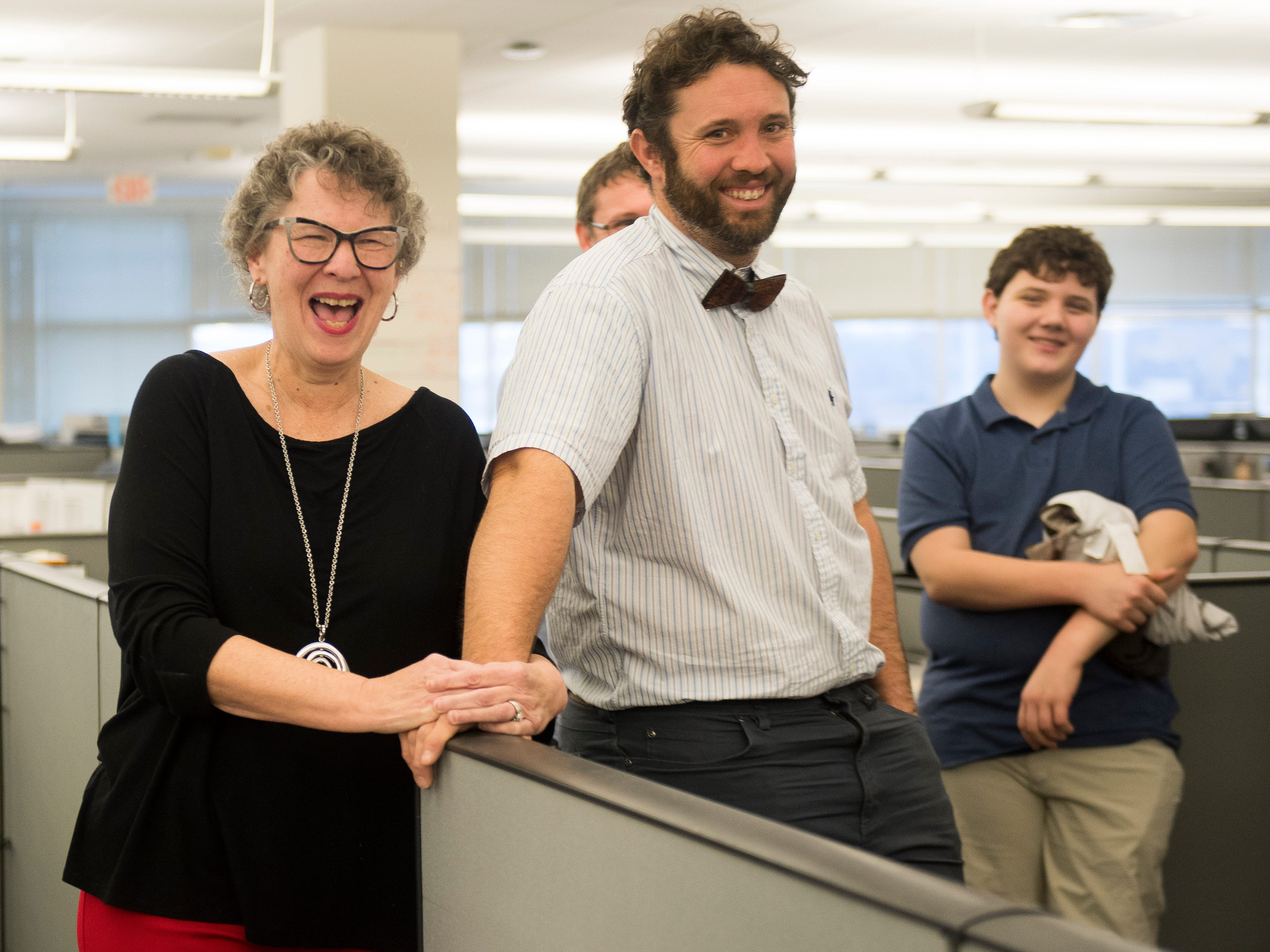 Features writer Mary Constantine, left, laughs during a retirement party on Wednesday, January 2, 2019. The Knoxville News Sentinel celebrated the retirements of Mary Constantine, Jack Lail and Michael Patrick.