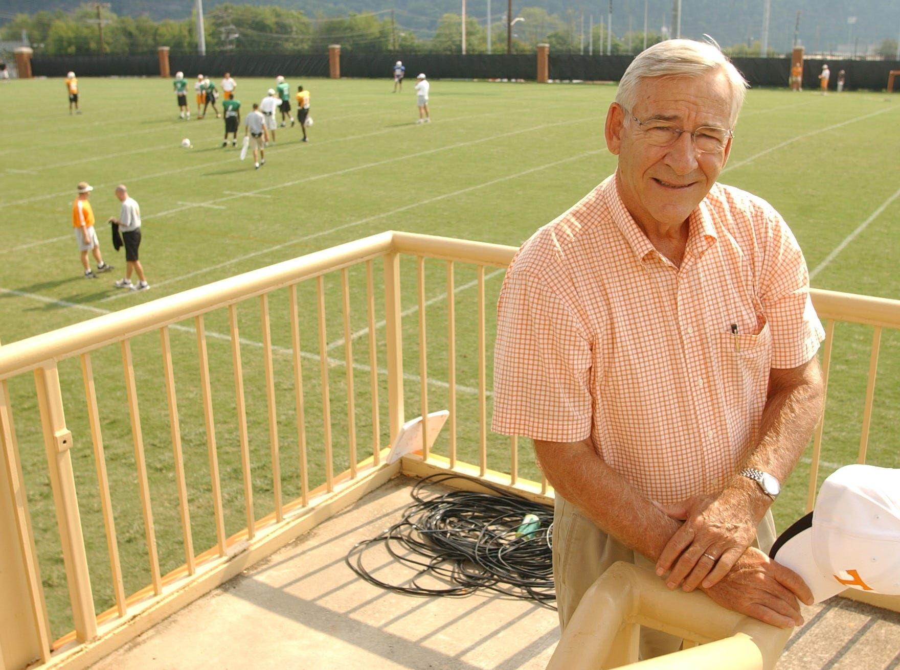 University of Tennessee Athletic Director Doug Dickey at football practice on Wednesday.