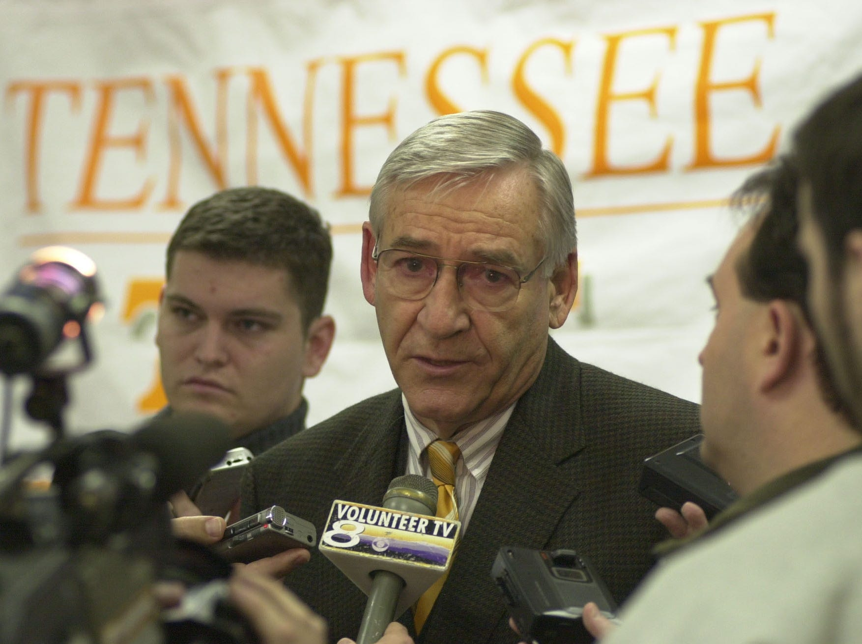 Doug Dickey, University of Tennessee director of athletics, fields questions from reporters on Tuesday after he announced that head men's basketball coach, Jerry Green, resigned. Green's record was 89-36 in four season at Tennessee.