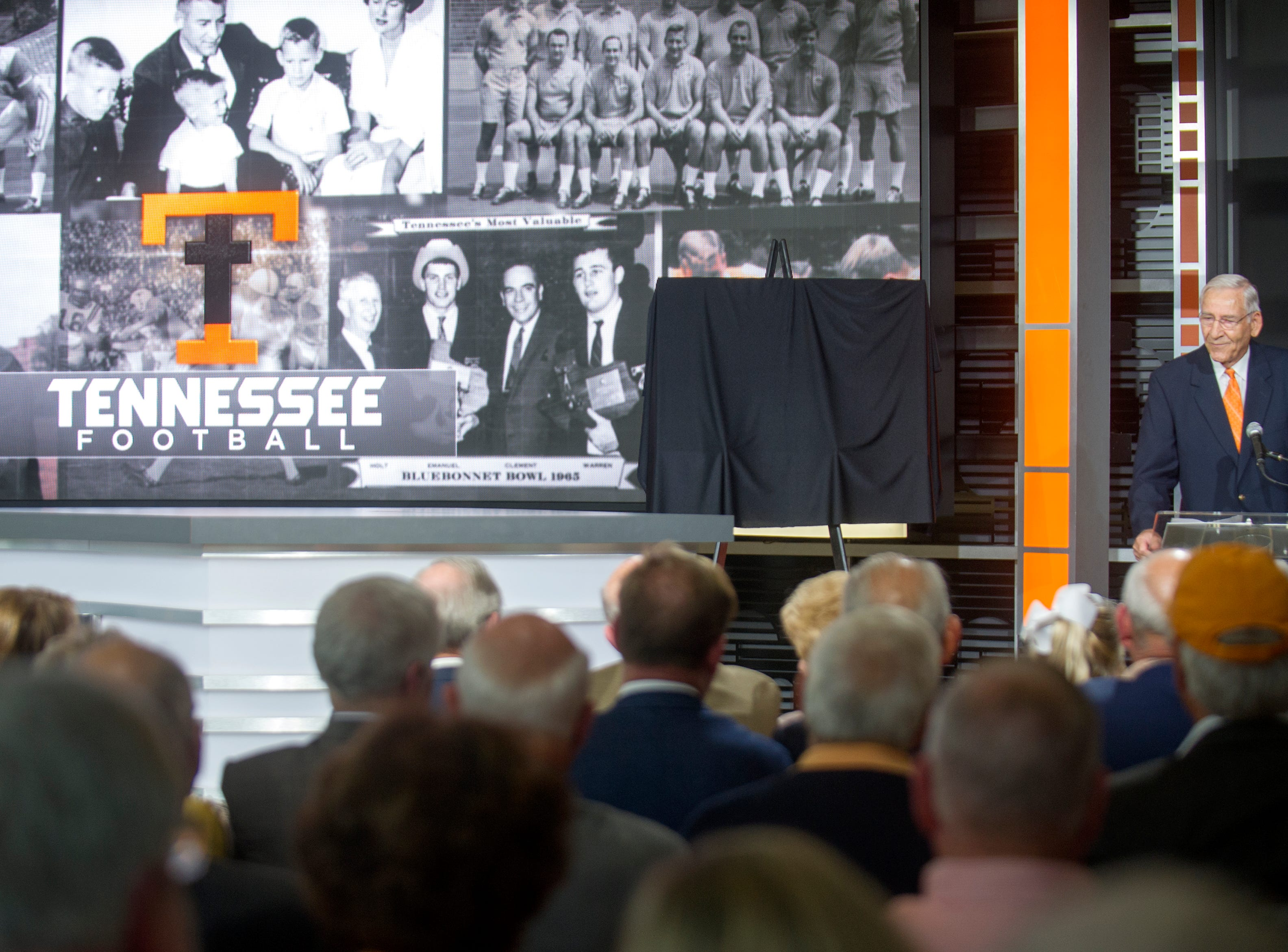 Former University of Tennessee athletic director and football coach Doug Dickey speaks during the dedication of the Doug Dickey Hall of Fame Plaza and the Doug Dickey Hall of Champions at the Neyland-Thompson Center in Knoxville Friday, Oct. 2, 2015.