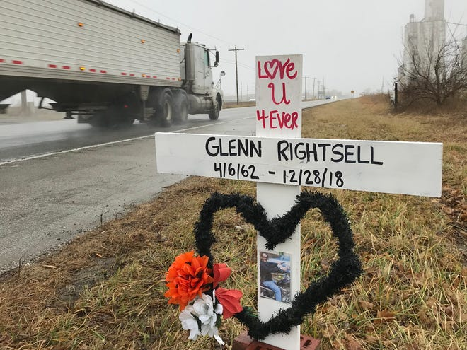 A tribute to Glenn Rightsell, a Linden masonry business owner killed after a Indiana State Police trooper shot him, sits along U.S. 231, near Montgomery County Road 550 North, just south of North Montgomery High School.