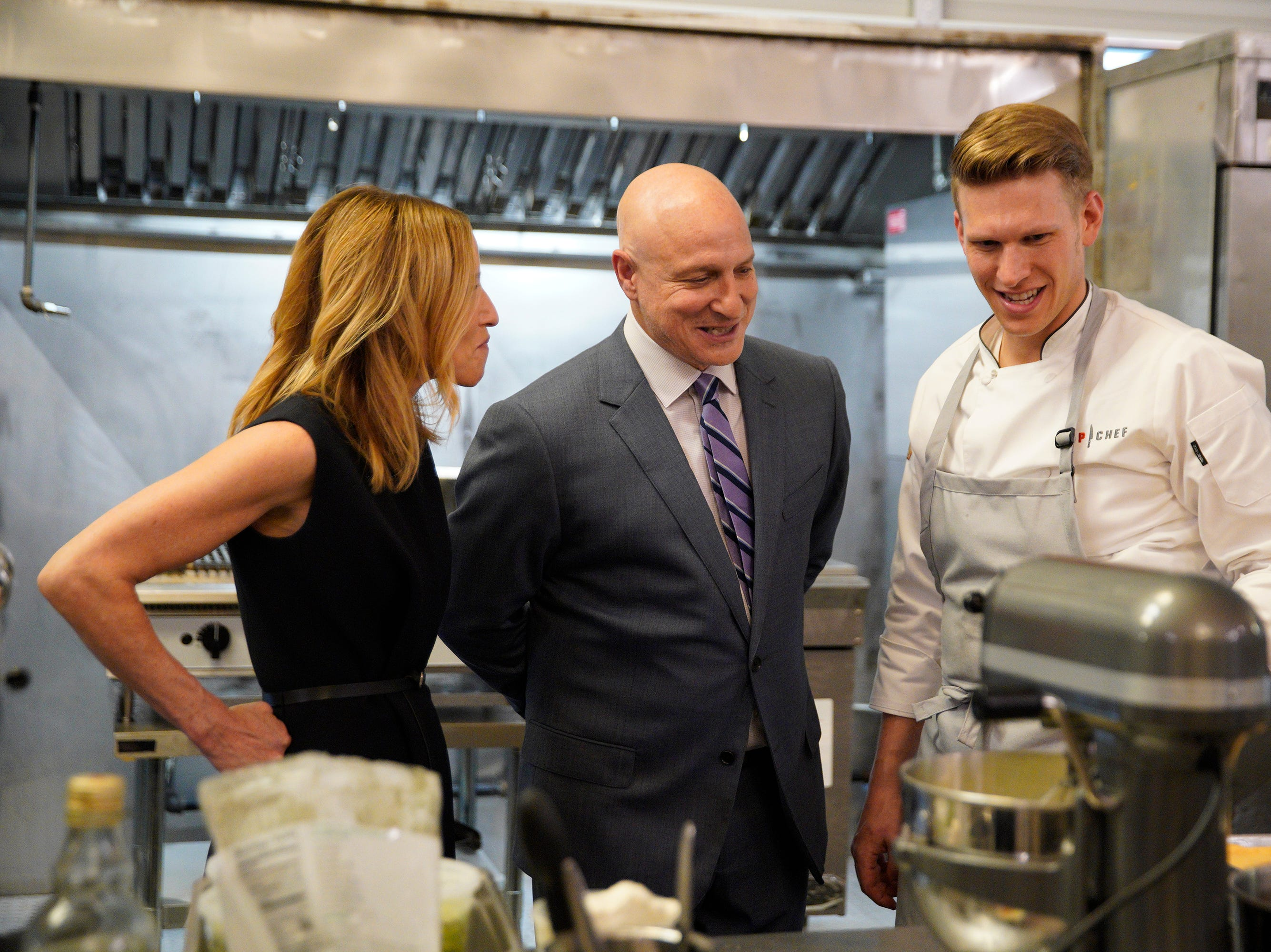 """(From left to right): Caroline Styne, Tom Colicchio and contestant Brandon Rosen on episode 5 of Bravo's """"Top Chef"""" Kentucky."""