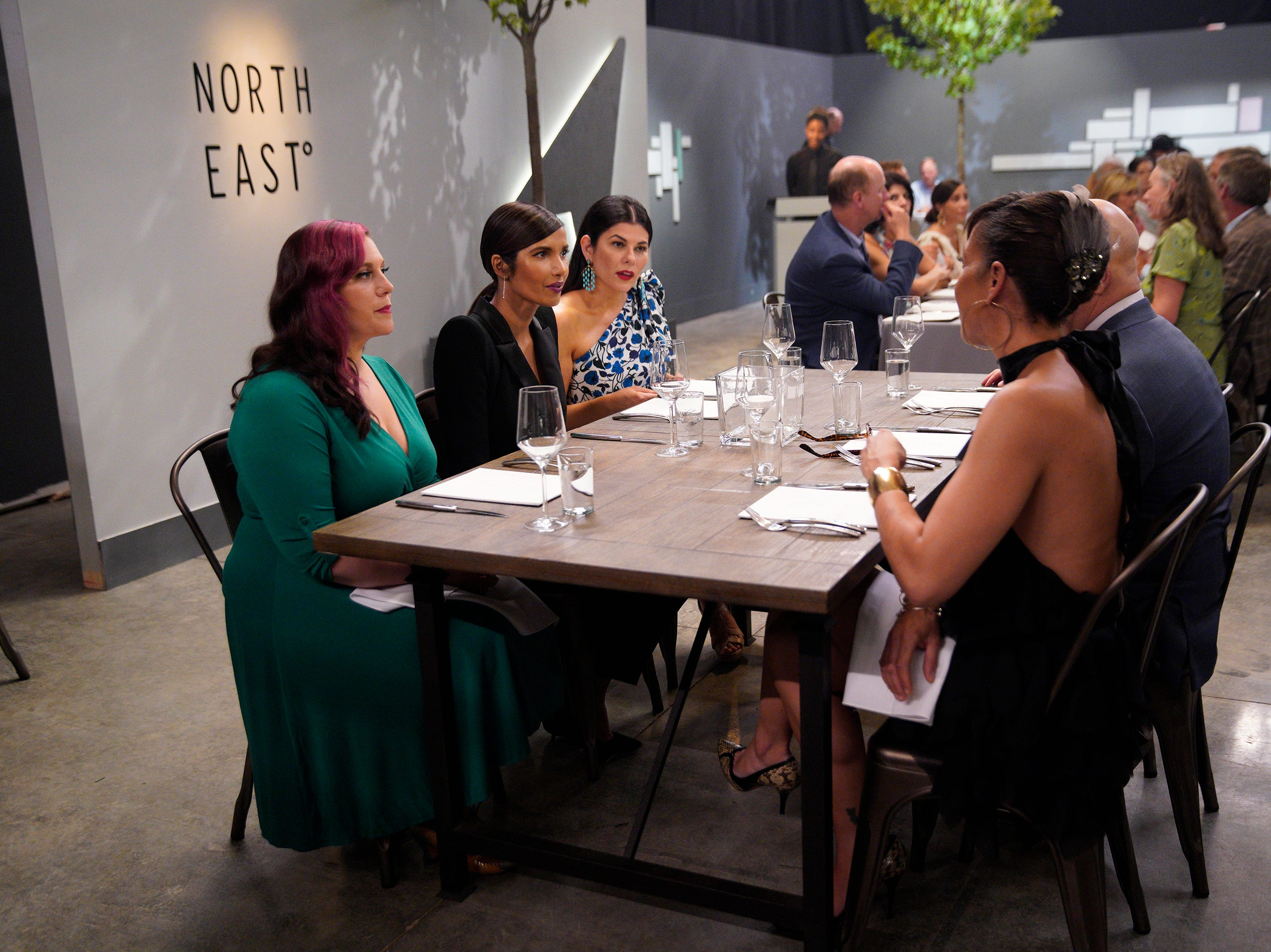 """(From left to right): Karen Akunowicz, Padma Lakshmi, Nilou Motamed and Nina Compton on episode 5 of Bravo's """"Top Chef"""" Kentucky."""
