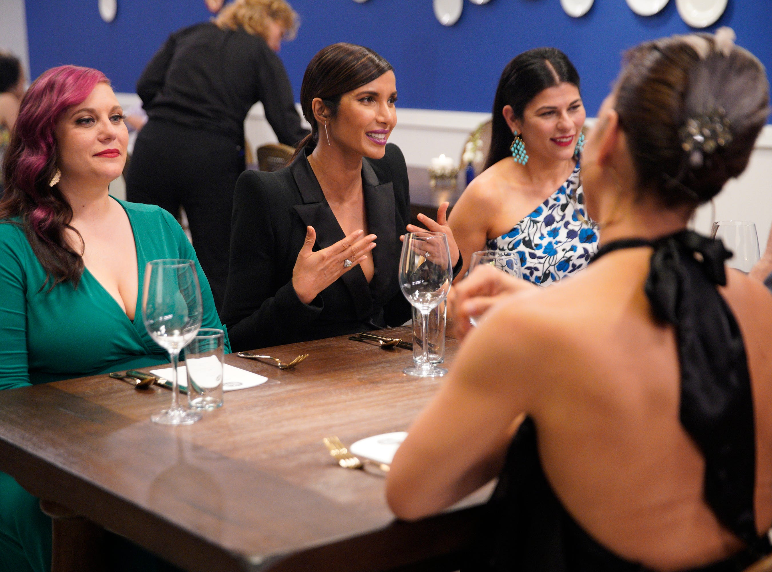 """(From left to right): Karen Akunowicz, Padma Lakshmi and Nilou Motame on episode 5 of Bravo's """"Top Chef"""" Kentucky."""